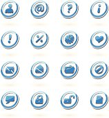 Blue, Shaded, Glossy Icons. Symbols, shades, icon shapes, are set on different layers, easy to customize.