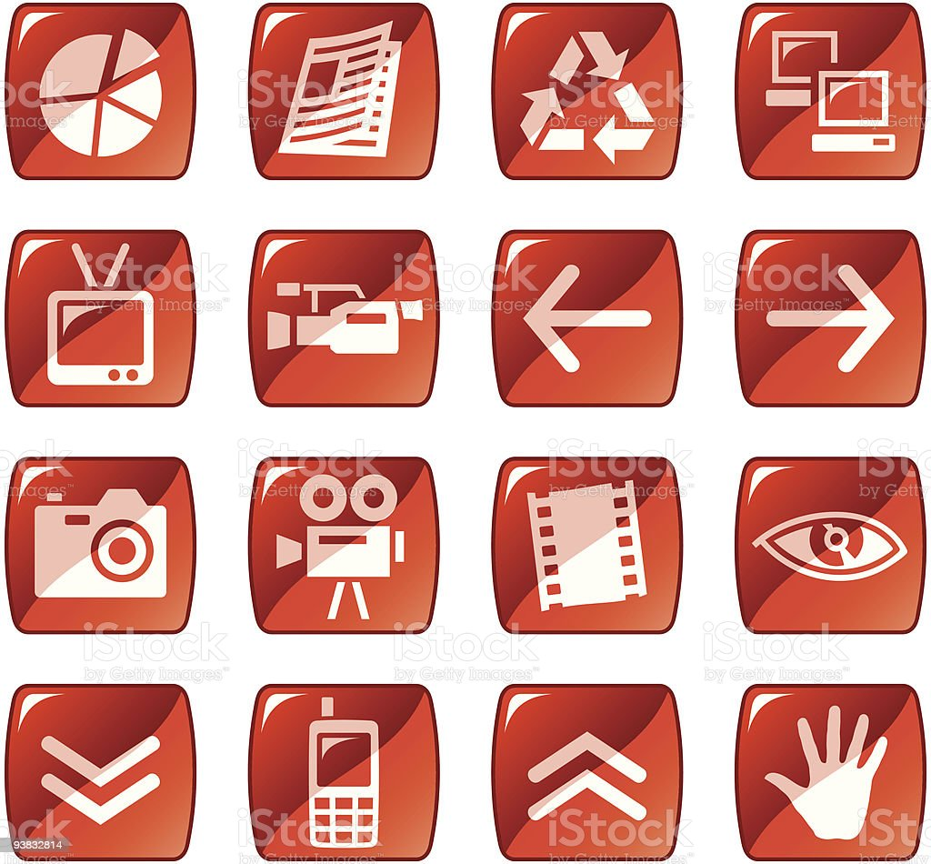Web icons / buttons. Red glossy series. Part four royalty-free stock vector art