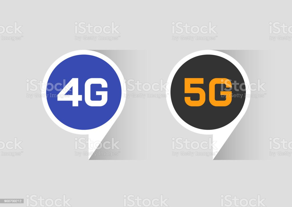 Web icons of 4G 5G technology vector art illustration