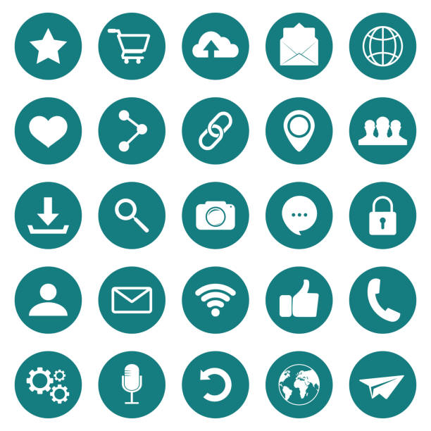 SOCIAL ICON. Web icons. Popular round social media icons. Simple set of vector icons vector art illustration