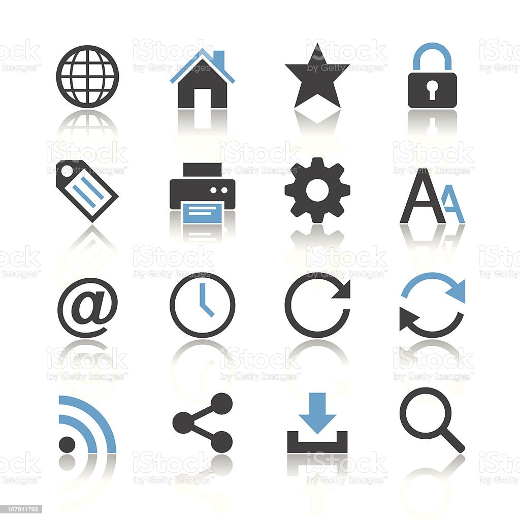 Web icons - reflection theme royalty-free web icons reflection theme stock vector art & more images of 'at' symbol