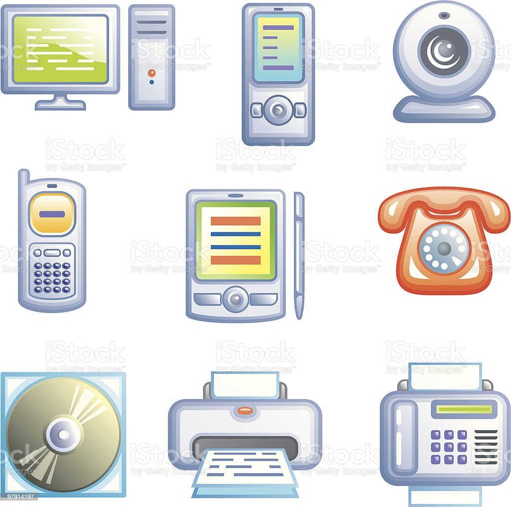 Web icons set – Electronics royalty-free web icons set electronics stock vector art & more images of cd-rom