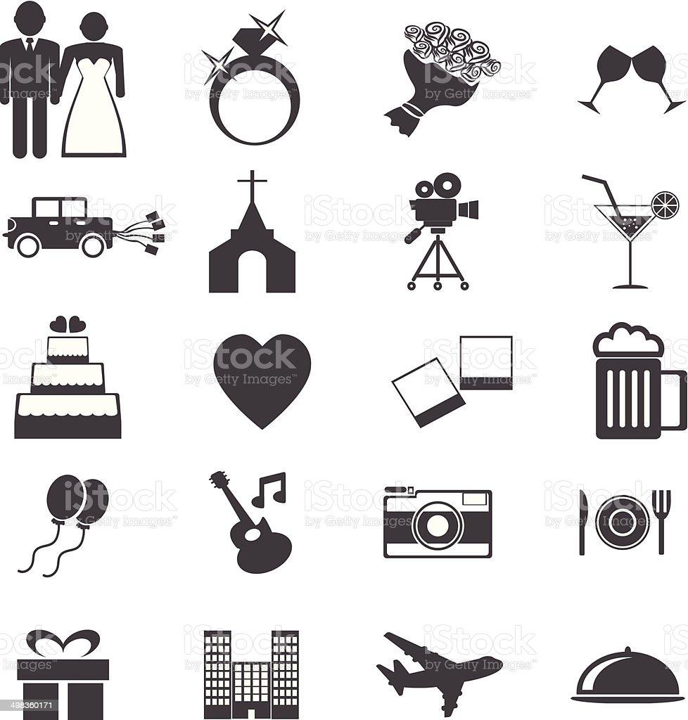 Web icons set. Wedding, bride groom, love, celebration. vector  illustrations vector art illustration