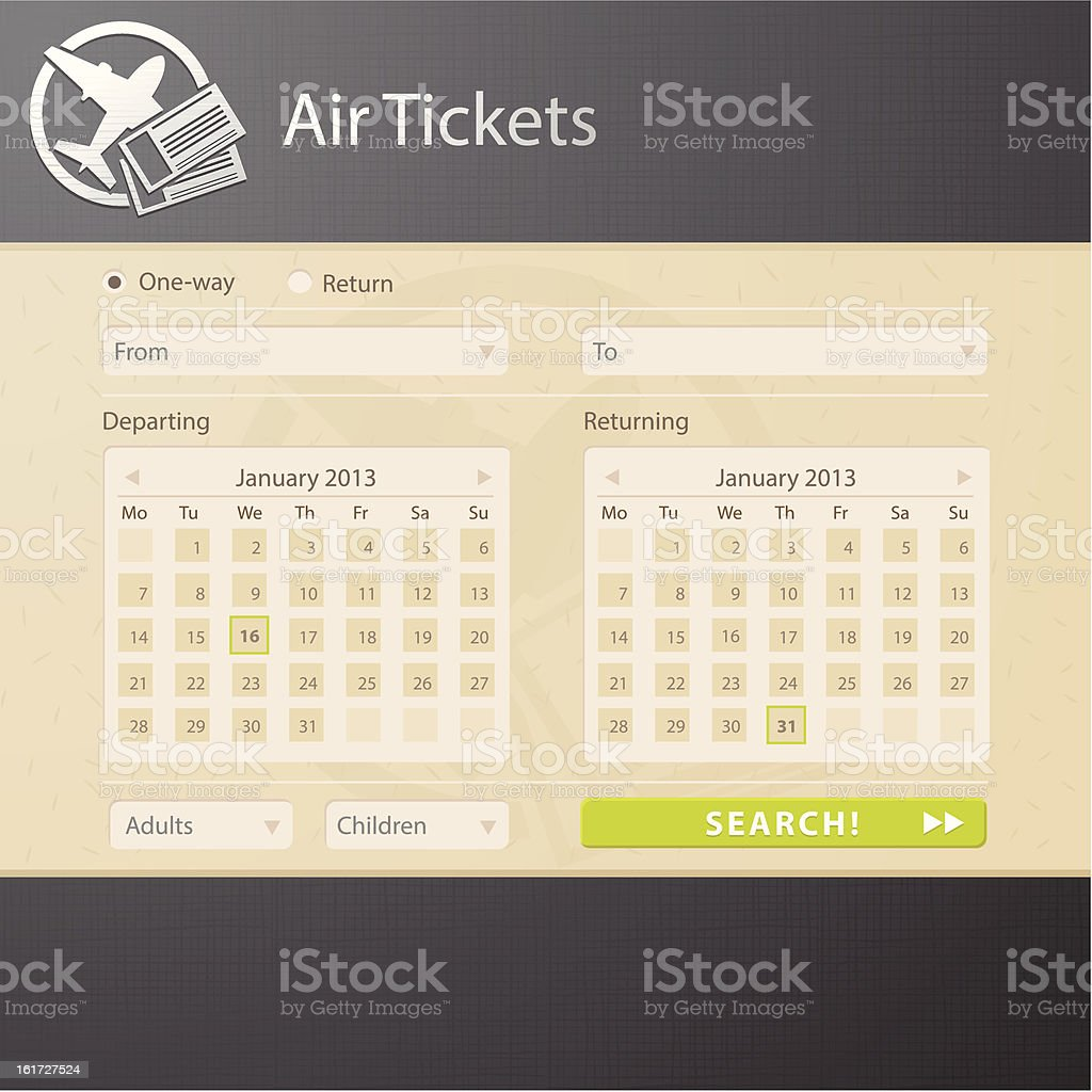 Web interface of air tickets sale website royalty-free stock vector art
