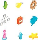 Isometric web and internet icons.