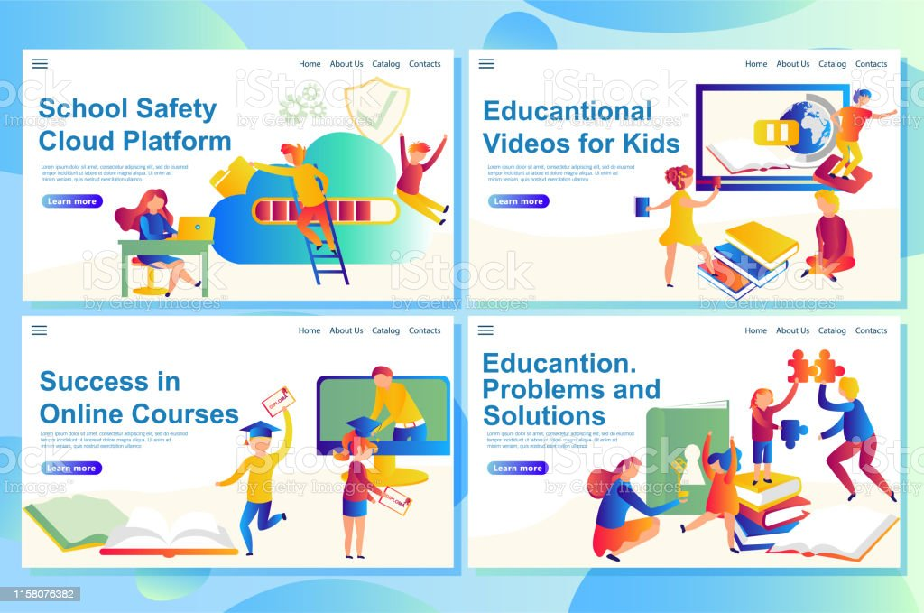 Web landing page templates of education, refers to digital learning...