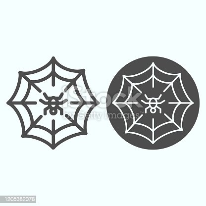 istock Web line and solid icon. Scary net grid with spider in center. Halloween vector design concept, outline style pictogram on white background, use for web and app. Eps 10. 1205382076