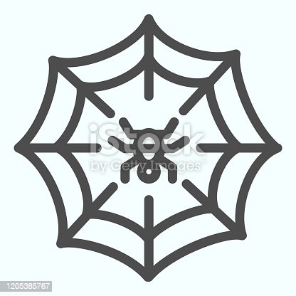 istock Web line icon. Scary net grid with spider in center. Halloween vector design concept, outline style pictogram on white background, use for web and app. Eps 10. 1205385767