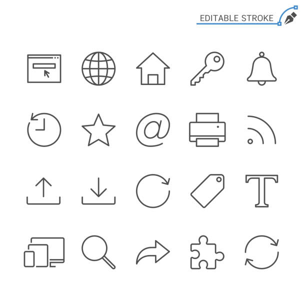 Web line icons. Editable stroke. Pixel perfect. Simple vector line Icons. Editable stroke. Pixel perfect. email signs stock illustrations
