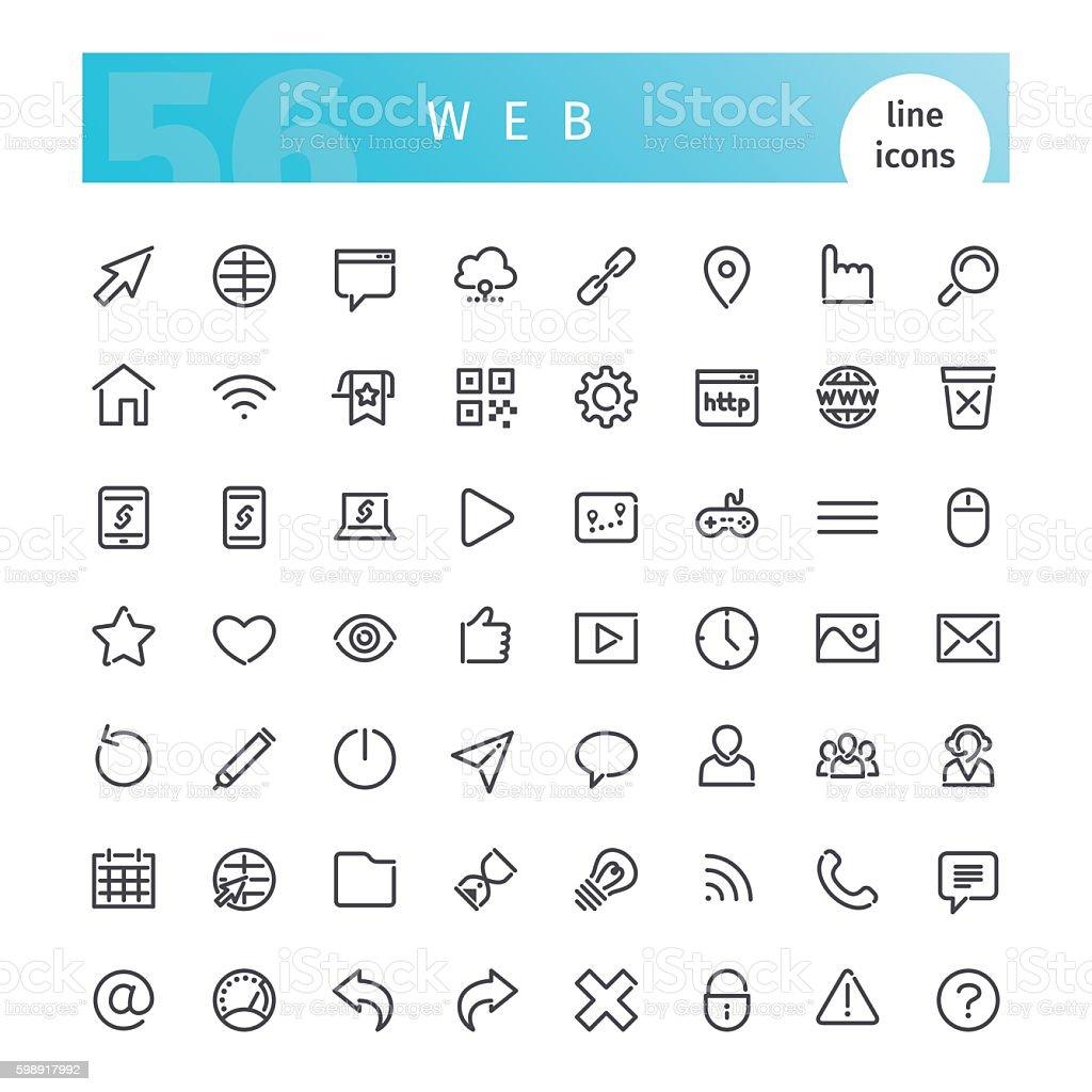Web Line Icons Set - ilustração de arte em vetor