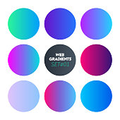 Web Linear Gradients Round Set with Modern Abstract Backgrounds. Trendy and Modern Colors Gradient Content Backdrops. Lush Gradient Set for Website, Screens, Mobile App UI and UX Design. Colorful RGB.