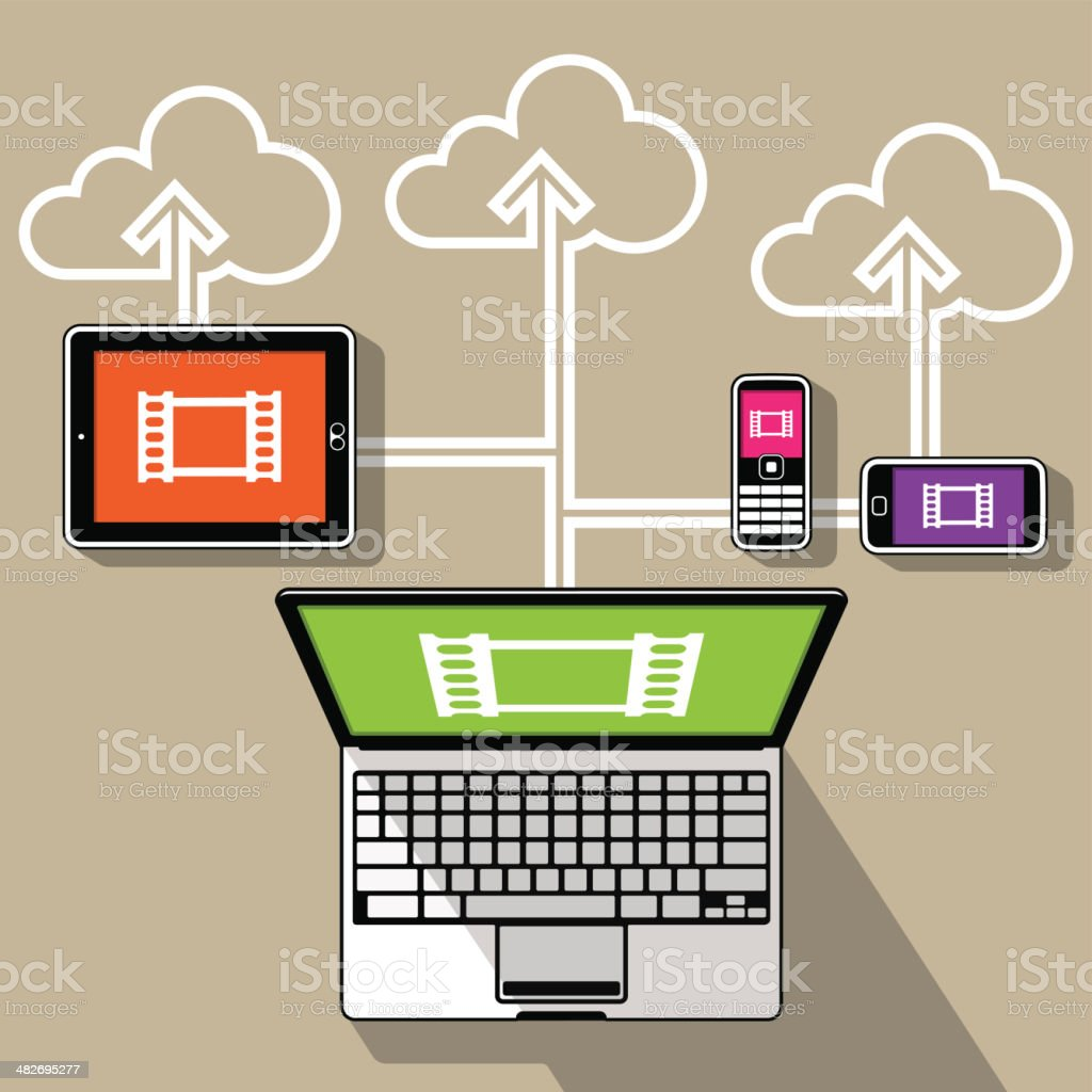 Web Media Streaming Devices royalty-free stock vector art