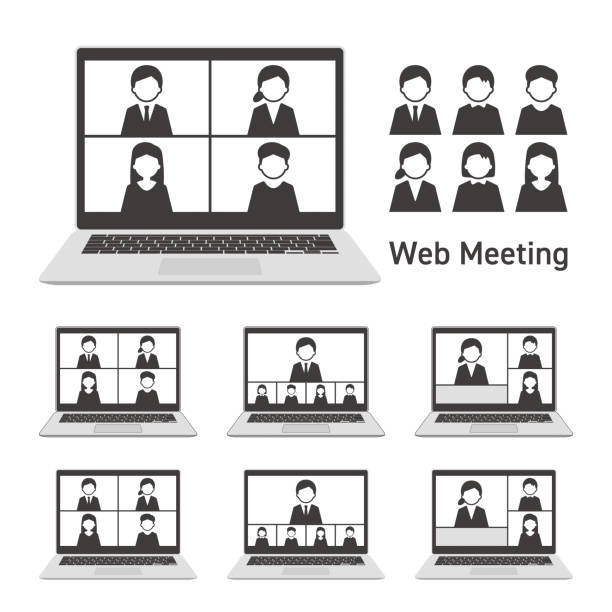 Web meeting with laptop computer Set Monochrome Web meeting with laptop computer Set Monochrome four people stock illustrations