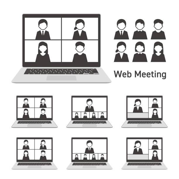 stockillustraties, clipart, cartoons en iconen met webvergadering met laptopcomputer zwart-wit ingesteld - wat