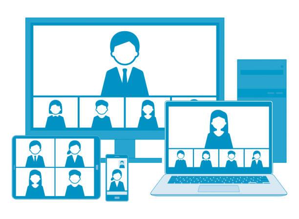 illustrations, cliparts, dessins animés et icônes de réunion web avec l'ensemble d'illustration de ligne, bleu, avec la ligne - visioconférence