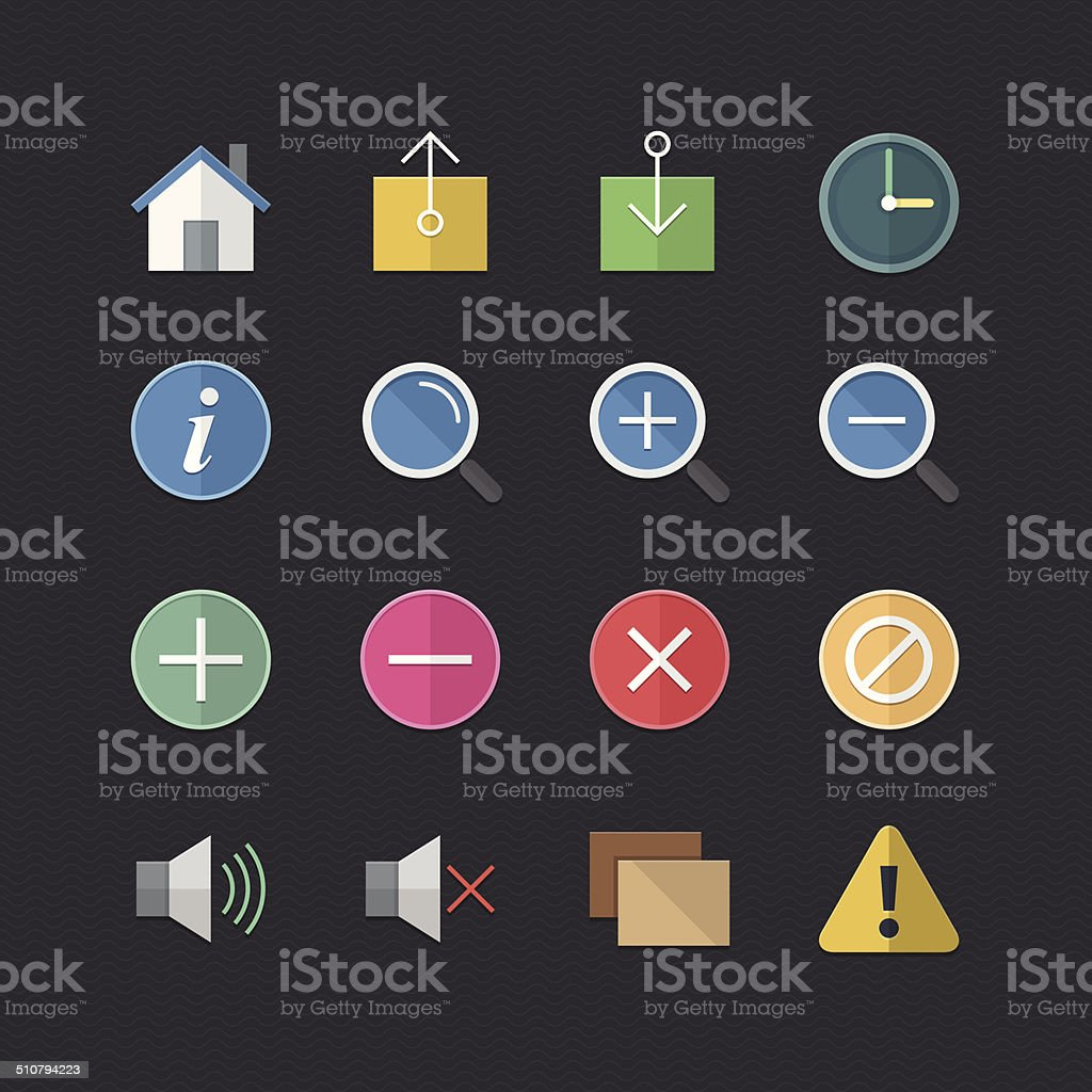 Web & Mobile Application icons set with Flat color style