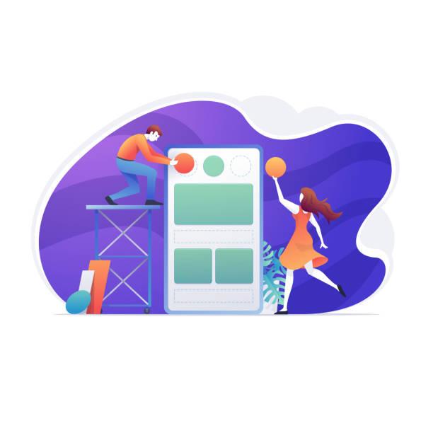 web mobile anwendung, benutzer, design, internet - tablet mit displayinhalt stock-grafiken, -clipart, -cartoons und -symbole