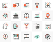 Flat line icons set of web service, search engine optimization. Unique color flat design pictogram with outline elements. Premium quality vector graphics concept for web, logo, branding, infographics.