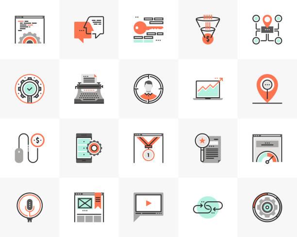 Web Optimization Futuro Next Icons Pack vector art illustration