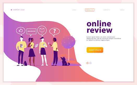 Web page concept design with online review theme.