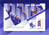 Web page design concept.  Web site for business. Night town isometric style illustration.  Smart city isometric design concept.