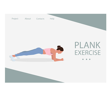 Web page design for Fitness, Sport training, Healthy lifestyle. Women in sportswear doing plank exercise. Vector illustration for poster, banner, website, placard, flyer.