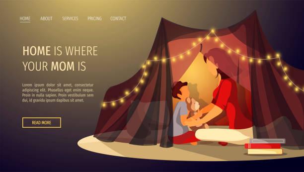 bildbanksillustrationer, clip art samt tecknat material och ikoner med webbsida design för lycklig familj, barndom, moderskap, föräldraskap, mysig. mor och barn sitter i tält. - cosy pillows mother child