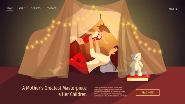 bildbanksillustrationer, clip art samt tecknat material och ikoner med webbsida design för lycklig familj, barndom, föräldraskap, moderskap, mysig. mor och barn i tält. - cosy pillows mother child