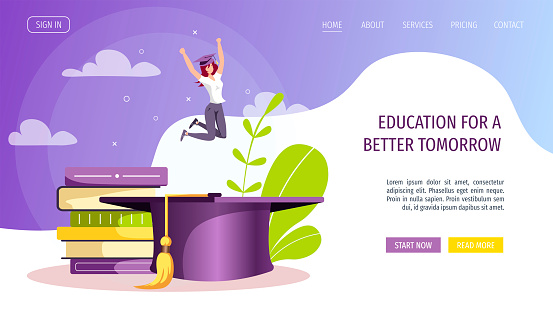 Web page design for Studying, training, education, e-learning, courses, university, graduating. Woman with graduate cap and books.