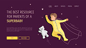 Web page design template for Baby store, baby blog, resources for parents, childhood. Toddler sleeping with a teddy bear. Vector illustration for poster, banner, placard, website, brochure.