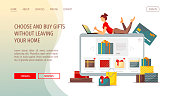 Web page design template for Christmas, New Year, Birthday gifts, Store, E-shop and E-commerce. Woman with laptop choosing gifts. Vector illustration for poster, banner, flyer, brochure, website.