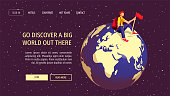 Web page design template for discovery, World Tourism Day, travel agency. Young man sitting on the globe in space. Vector illustration for banner, poster, website, commercial, advertisement.