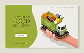 Web page design template for farm fresh food, online food ordering, organic vegetable delivery. Smartphone in hand. Vector illustration isometric concepts