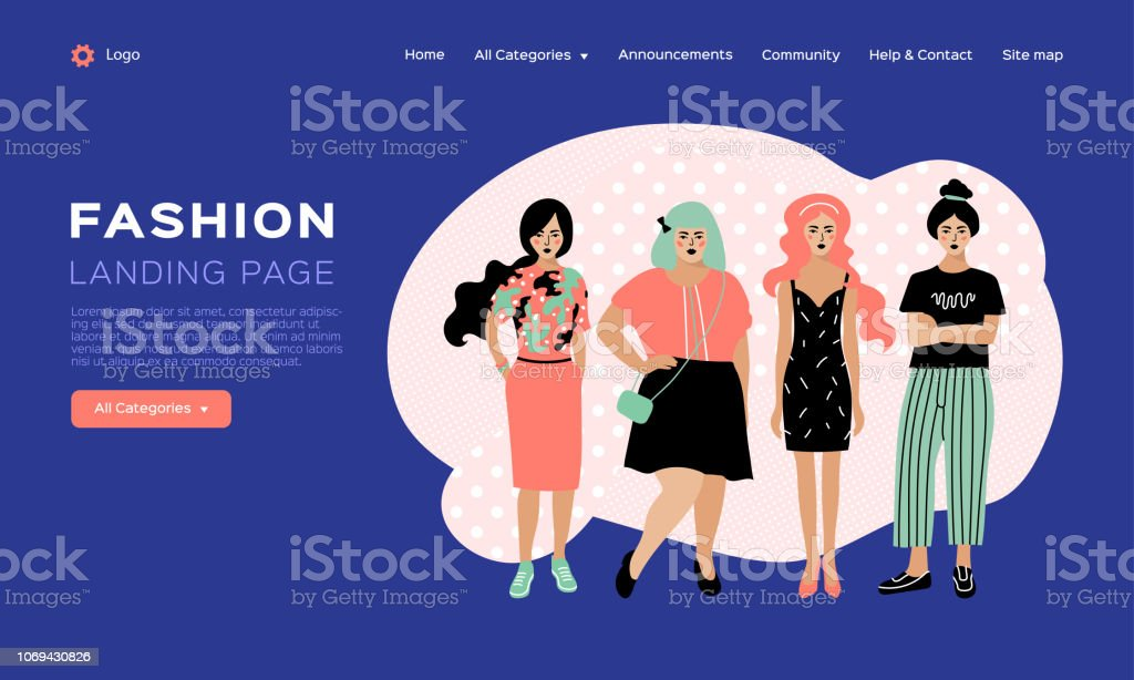 56eb6f8ba Vetor de Modelo De Design De Página Da Web Para A Moda Catálogo De ...