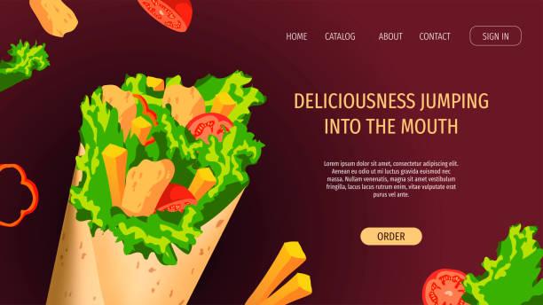 web-seite design-vorlage für fast food, kebab, kochen, lebensmittel-bestellung. yummy kebab mit huhn, tomate, salat, pommes frites. - döner stock-grafiken, -clipart, -cartoons und -symbole