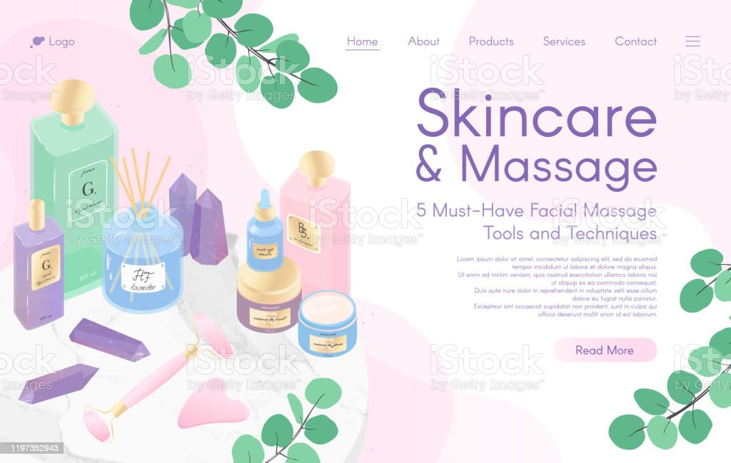 Web Page Design Template For Skin Care Treatmentface Massage Tutorialspawellnessnatural Productscosmeticsself Care Stock Illustration Download Image Now Istock