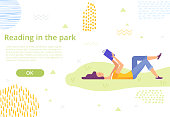 Web page design template. Girl reading a book on the lawn in the park. Reading in harmony with nature. Vector illustration