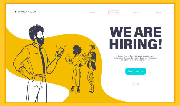 Web page design template with multiracial business people isolated,  employment and recruitment concept. Web page design template with multiracial business people isolated,  employment and recruitment concept. Hand drawn sketch doodle style. UI, UIX, mobile app. Vector illustration. recruiter stock illustrations