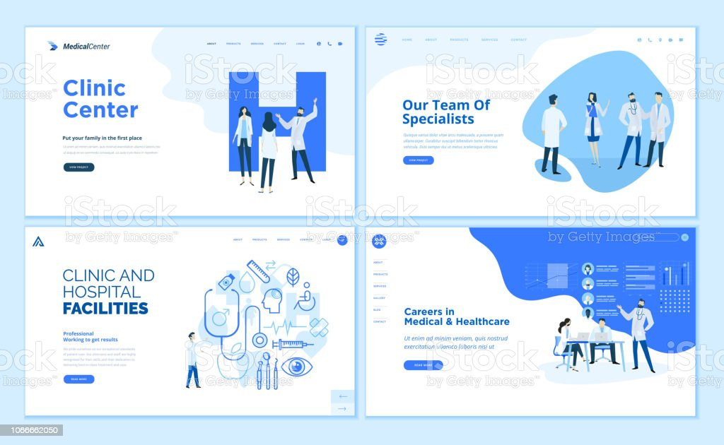 Web page design templates collection of clinic center, hospital facilities, medical career, team of doctors royalty-free web page design templates collection of clinic center hospital facilities medical career team of doctors stock illustration - download image now