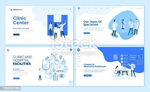 istock Web page design templates collection of clinic center, hospital facilities, medical career, team of doctors 1066662050