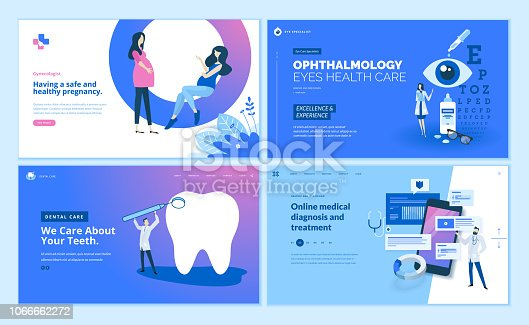 istock Web page design templates collection of gynecology , ophthalmology, dental care, online medical diagnosis and treatment 1066662272