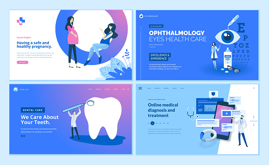 Web page design templates collection of gynecology , ophthalmology, dental care, online medical diagnosis and treatment