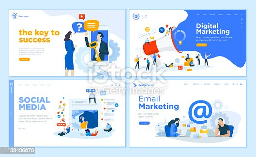 istock Web page design templates collection of internet marketing, social media, email marketing, online support, modern communication 1138436870