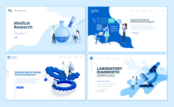 Web page design templates collection of medical research, laboratory diagnostic, medical device development, family health protection program. vector art illustration