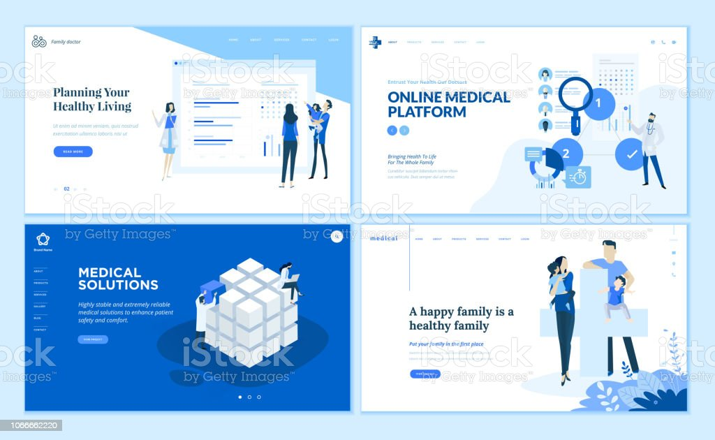 Webseite Design Vorlagen Sammlung von medizinischen Lösungen, medizinische Onlineplattform, gesundes Wohnen, medizinische Schutz der Familie – Vektorgrafik
