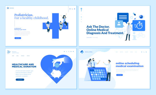 Web page design templates collection of pediatrician, online medical diagnosis and treatment, medical donation vector art illustration
