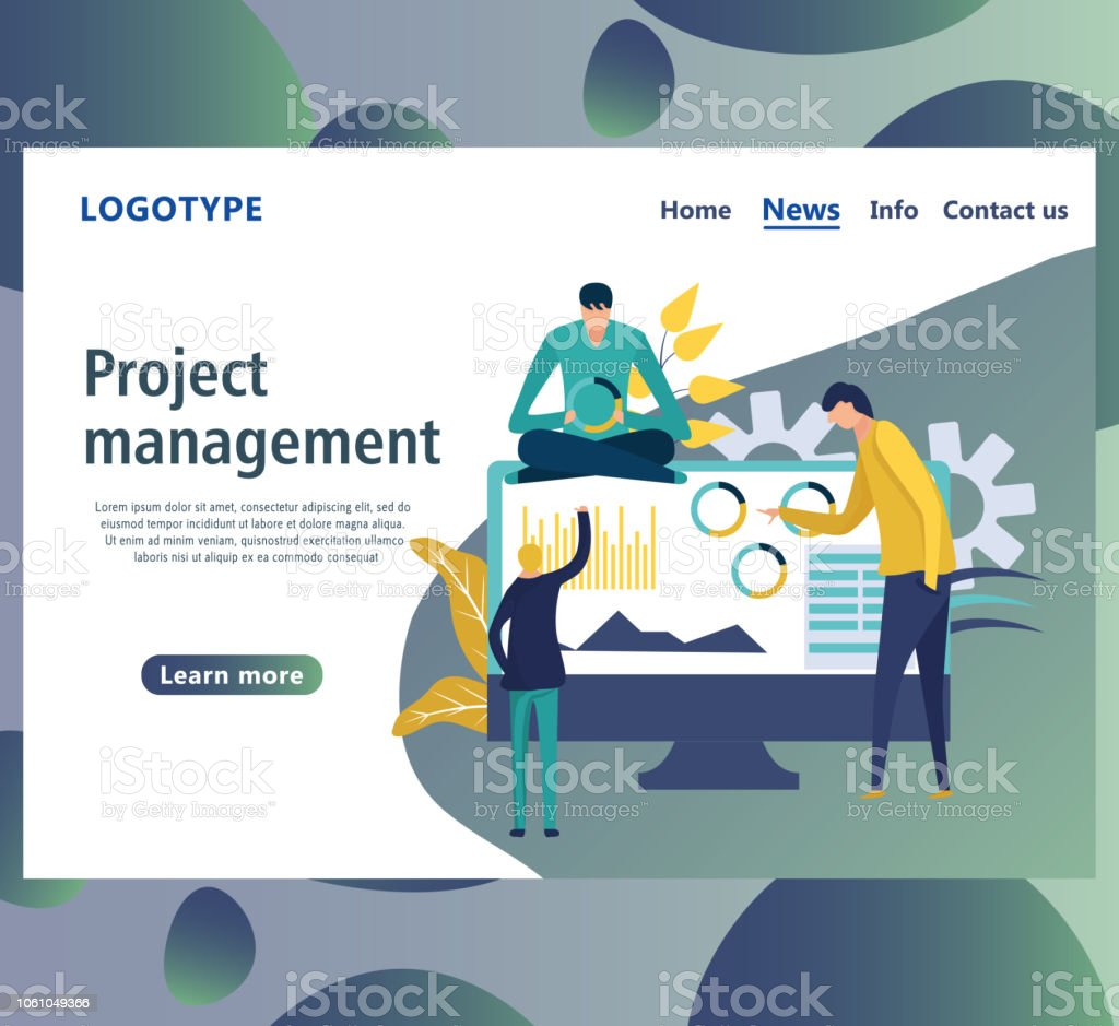 Web Page Design Templates For Project Management Stock Vector Art