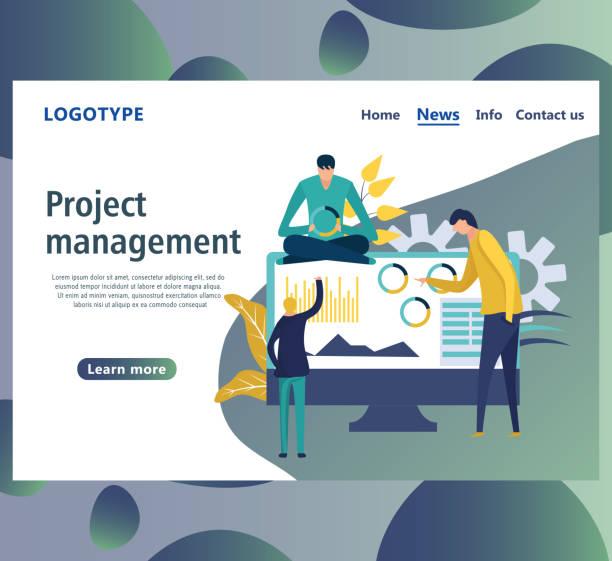 web-seite design-vorlagen für das projektmanagement, - arbeitsvermittlung stock-grafiken, -clipart, -cartoons und -symbole