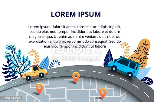 istock Web page design templates for travelling, journey, trip, car tour, roads and auto. Street Map with navigation icons. Navigation concept. Vector illustration with road and traffic jam 1133133340
