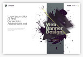 Web page design templates, welcome screen, banner. Сoncepts for website and mobile website development. Geometric abstract background with grunge blots. Vector illustration